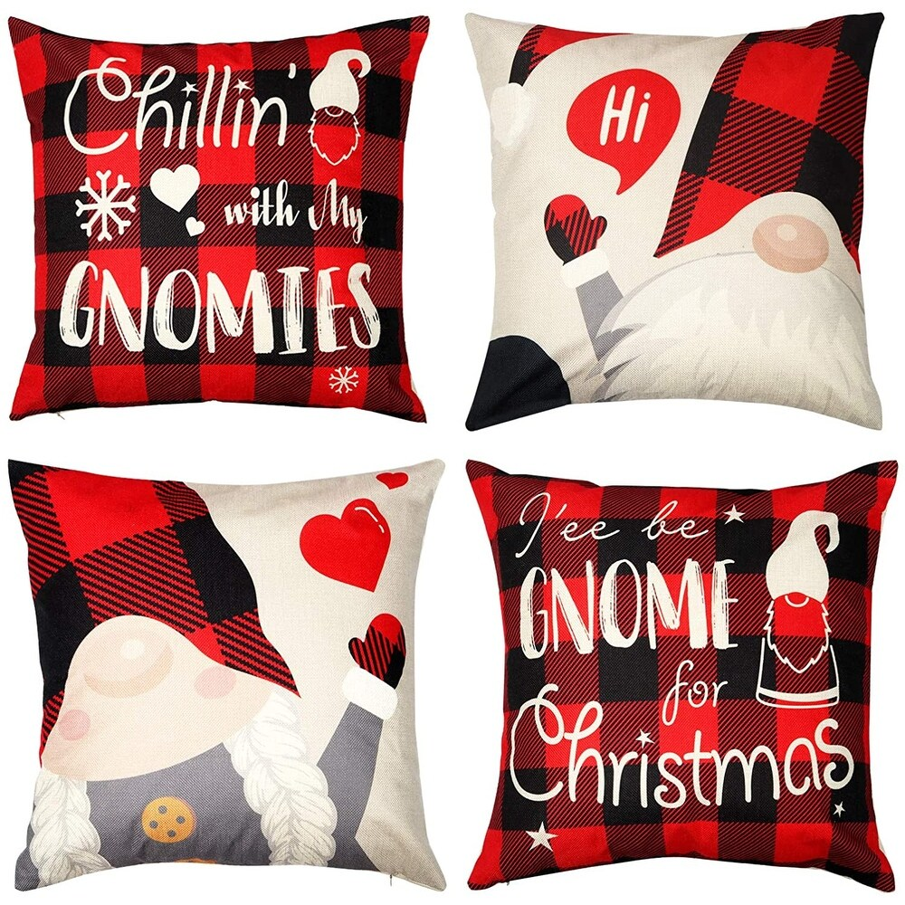 Christmas Pillow Case Set of 4, 18 x 18 Inch Christmas Pillow Covers (Multi-color)