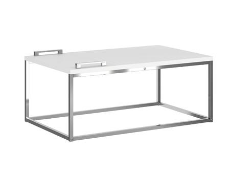 Noa Collection KD-B120WH Cocktail Table with Metal Chrome and Medium-Density Fiberboard in Matte