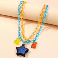Halskette mit Stern & Baeren Anhaenger und mehrschichtigen Ketten