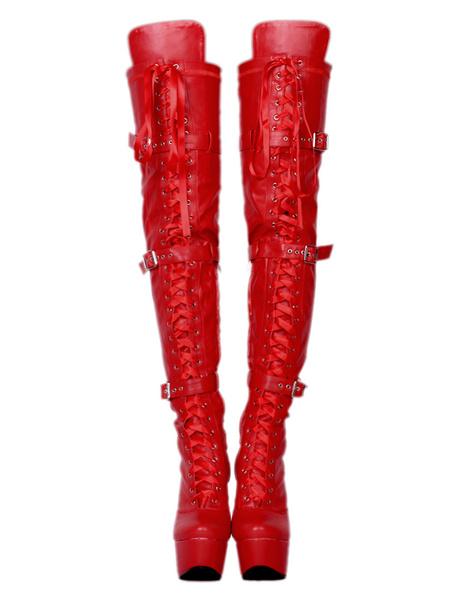 Milanoo Sexy Thigh High Boots Women's Black Platform Faux Fur Buckle Detail Over Knee High Heel Boots