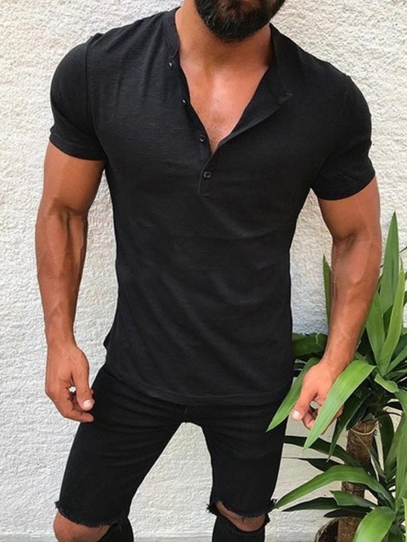 Ericdress Casual Button Plain Slim Mens T-shirt