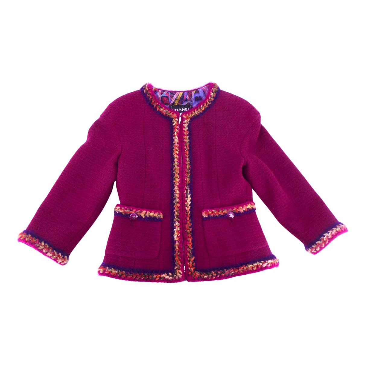 Chanel - Veste   pour femme en laine - bordeaux