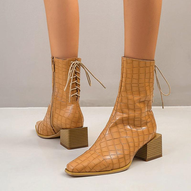 Ericdress Block Heel Stripe Pointed Toe Zipper Boots