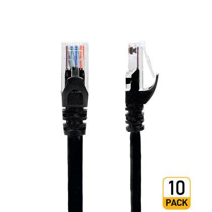 Câble réseau Ethernet Cat6 550 MHz UTP RJ45 de haute qualité, 15 pieds, noir - PrimCables® - 10/paquet