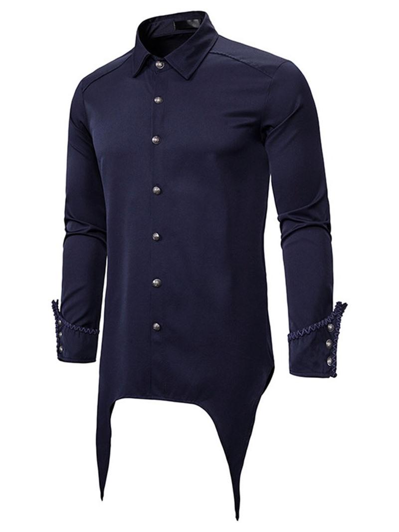 Ericdress Plain Lapel Asymmetric Single-Breasted Slim Shirt