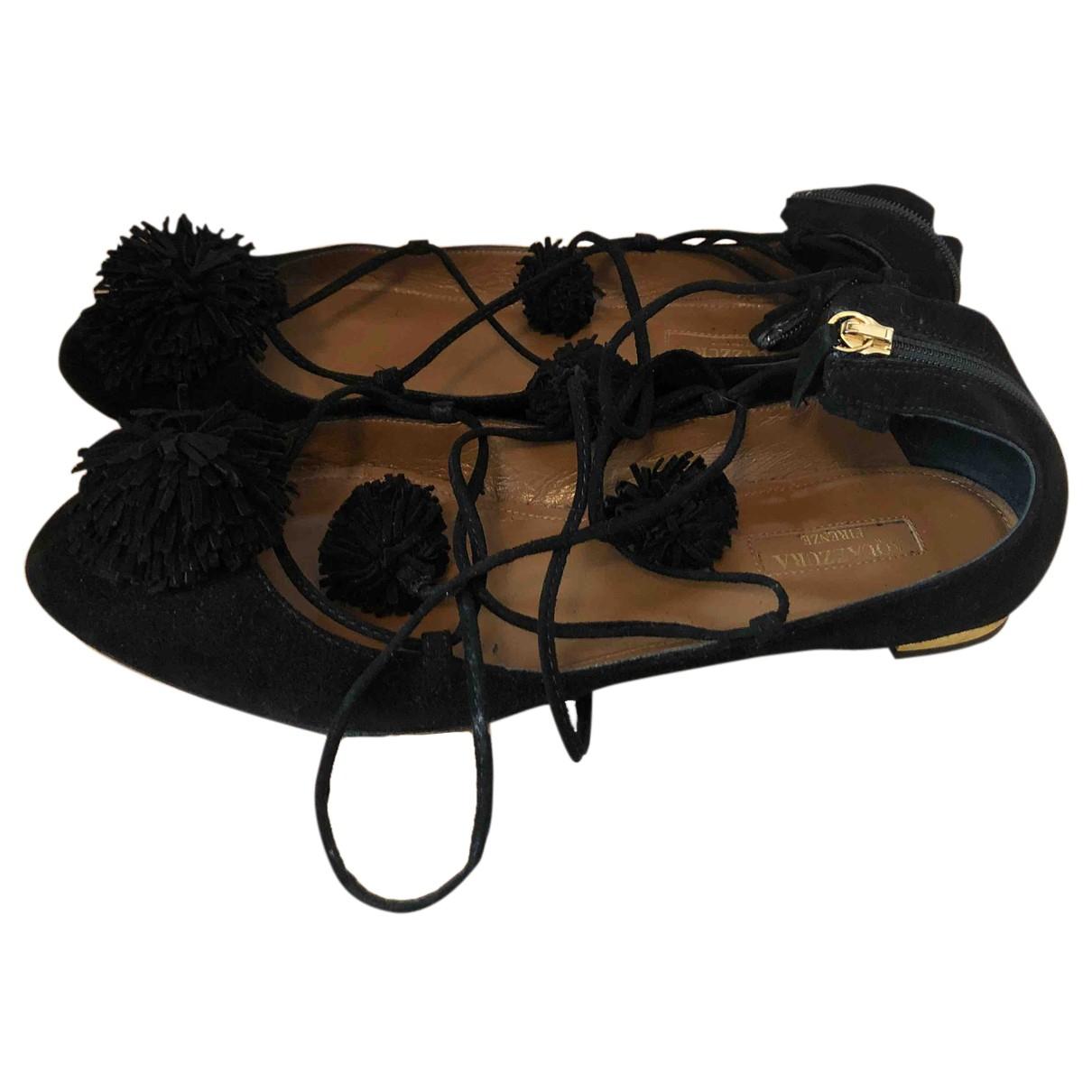 Aquazzura - Ballerines   pour femme en suede - noir