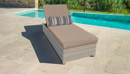 Fairmont Collection FAIRMONT-W-1x-WHEAT Wicker Patio Chaise with Wheels - Beige and Wheat