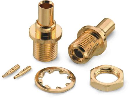 Wurth Elektronik , WR-MMCX Straight 50Ω Cable MountBulkhead Fitting Coaxial Connector, jack, Gold over Nickel, Solder (2)