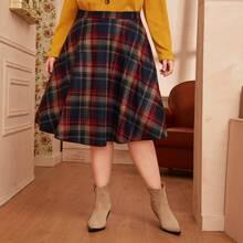 Falda amplia tweed de tartan - grande
