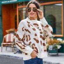 Graphic Print Drop Shoulder Sweater