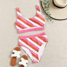 High Waisted Cutout Striped Bikini Swimsuit