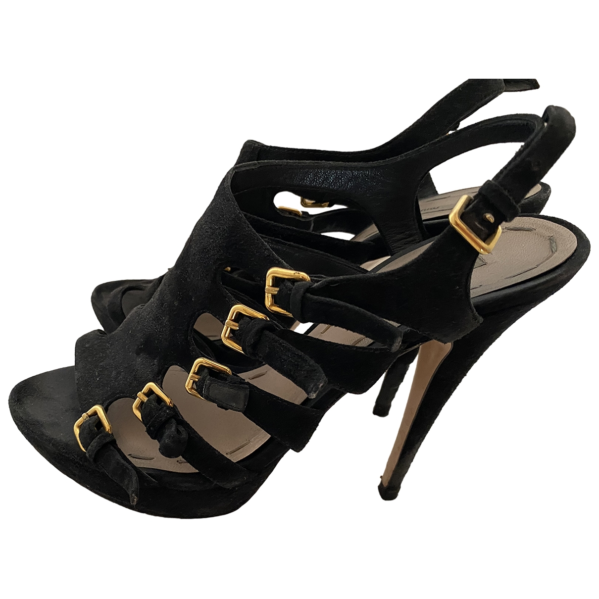 Miu Miu \N Black Suede Heels for Women 38 EU