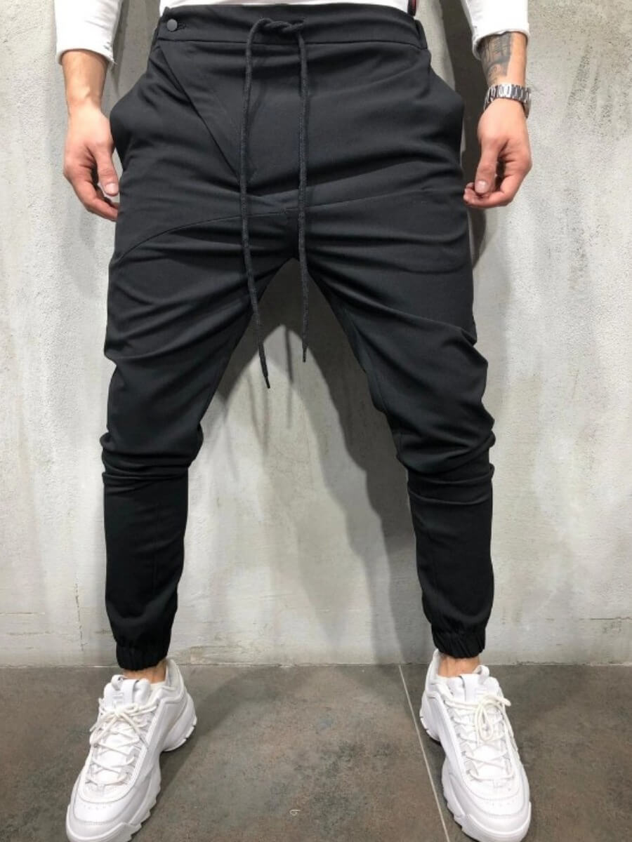 LW Lovely Street Lace-up Black Men Pants