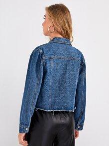 Button Front Raw Hem Denim Jacket