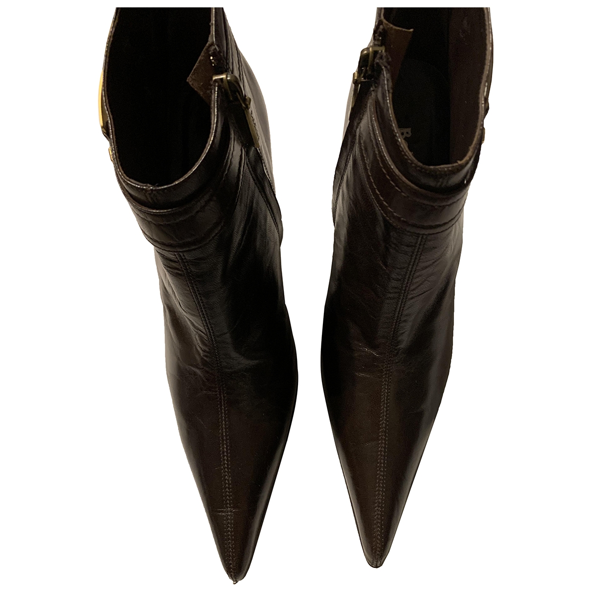 Baldinini \N Brown Leather Ankle boots for Women 39.5 EU