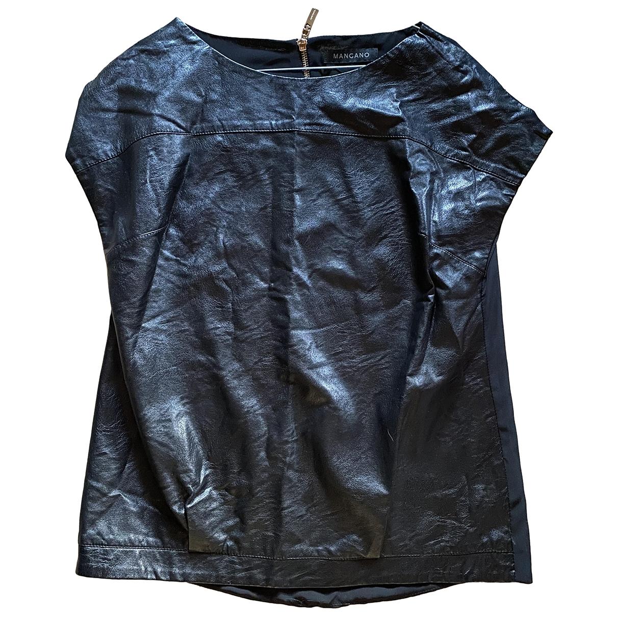 Mangano \N Top in  Schwarz Leder
