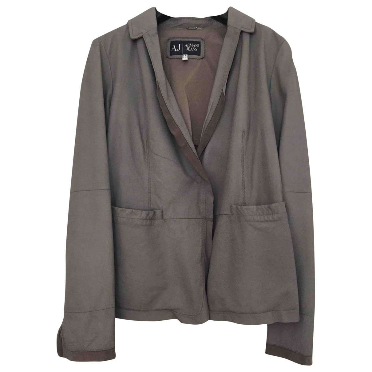 Armani Jean - Blouson   pour femme en cuir - gris