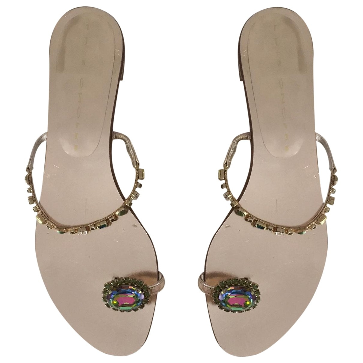 Luis Onofre \N Gold Leather Flats for Women 39 EU