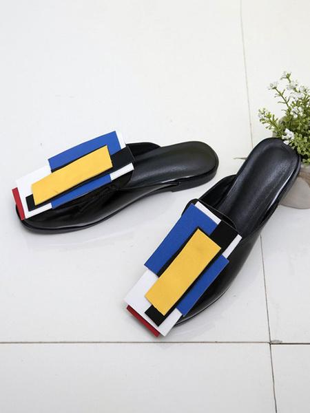 Milanoo Zuecos de mujer Zuecos Slip-On de cuero negro PU con punta cuadrada