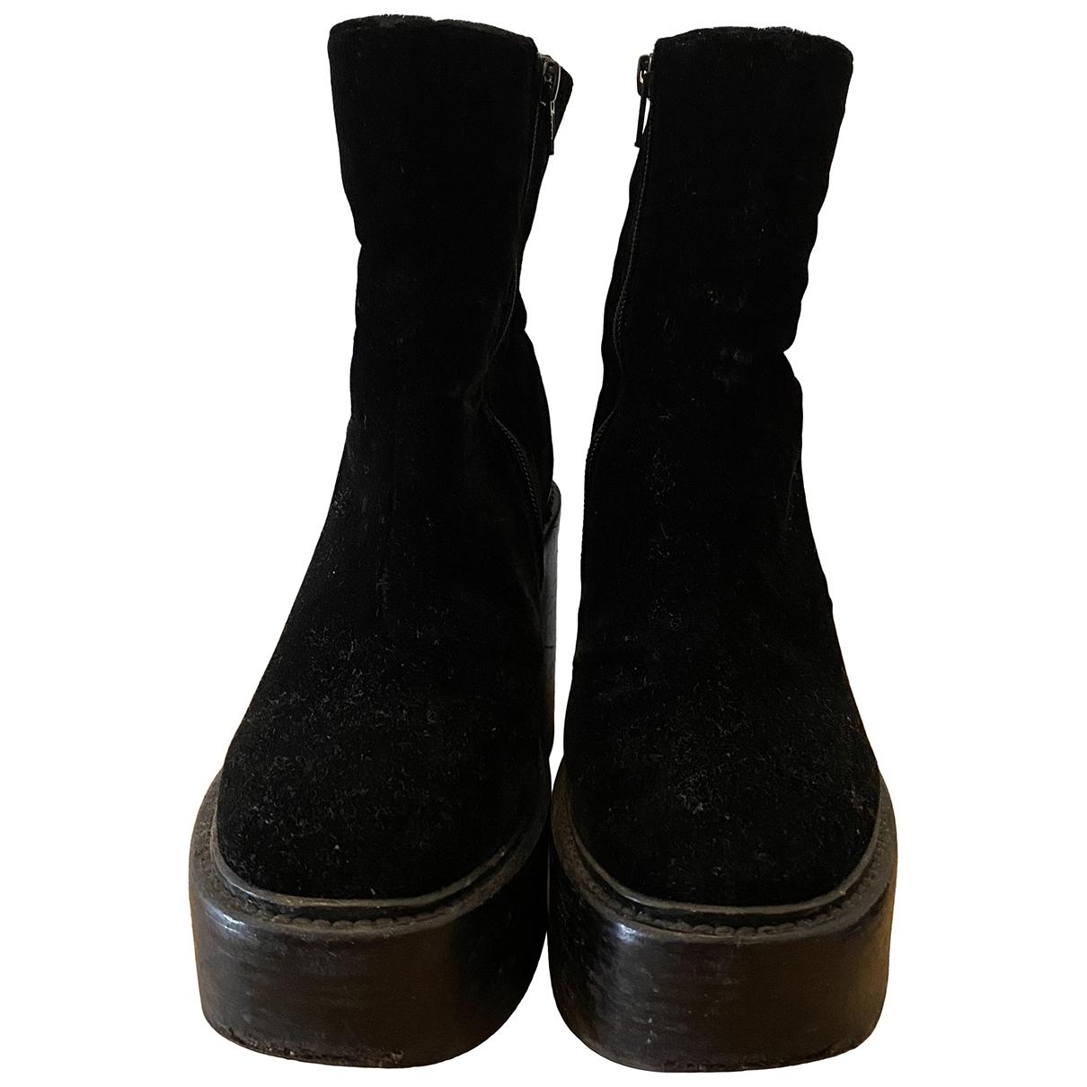 A.f.vandevorst \N Black Velvet Ankle boots for Women 37.5 IT