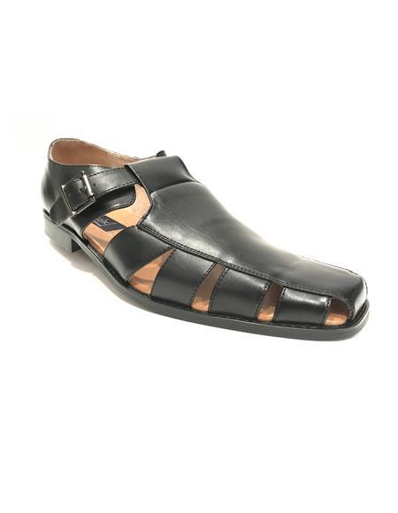 Mens Black Synthetic Closed Toe Dress Sandals