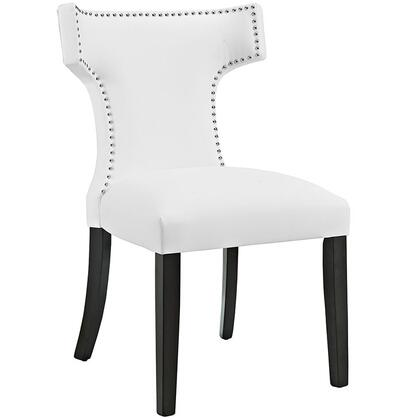 Curve Collection EEI-2220-WHI Dining Side Chair with Nailhead Trim  Dense Foam Padding  Black Rubberwood Tapered Legs  Solid Wood Frame and Vinyl