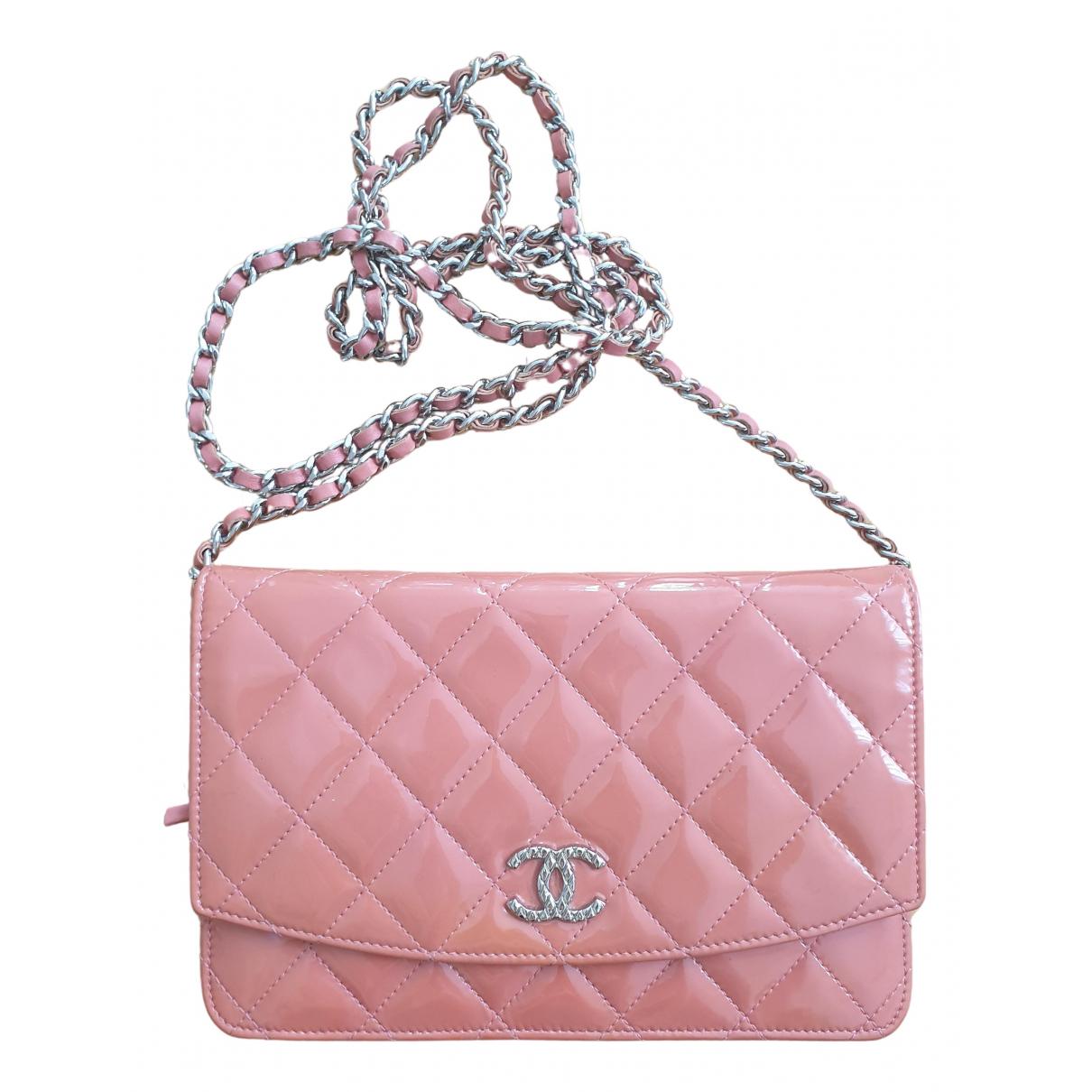 Chanel - Pochette Wallet on Chain pour femme en cuir verni - rose