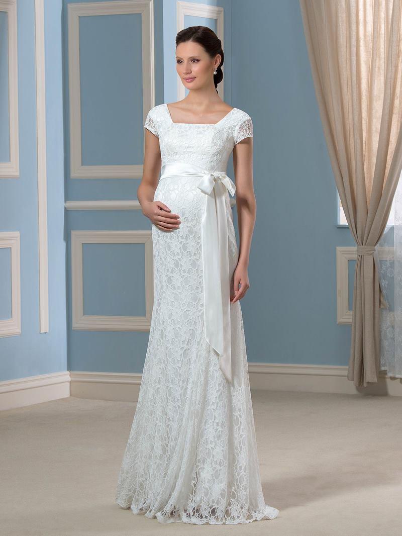 Ericdress Short Sleeves Sheath Lace Maternity Wedding Dress