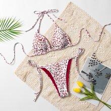 Dalmatian Triangle Tie Side Bikini Swimsuit