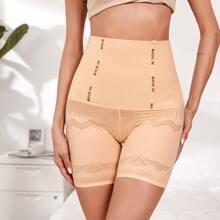 Shorts mit Buchstaben Muster und hoher Taille