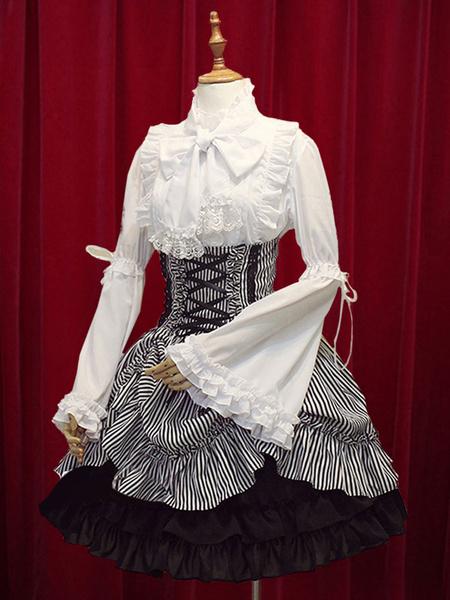 Milanoo Black White Stripe High Waist Lolita Skirt Cotton Lace Up