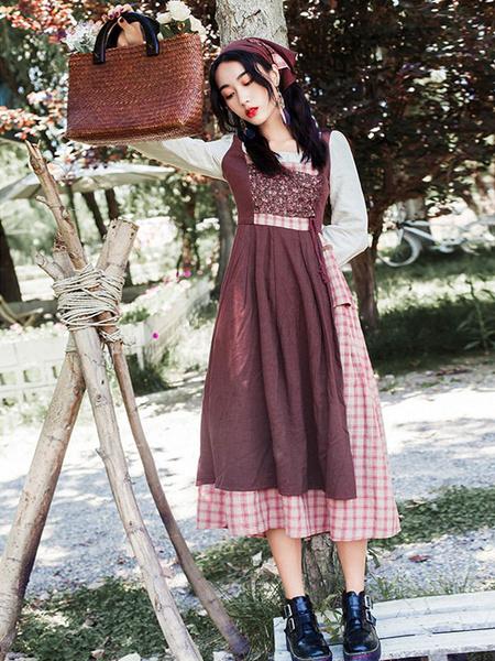 Milanoo Disfraz Halloween Disfraces retro de mujer pequeña Vestido de estilo pastoral de lino de algodon con cordon a cuadros Halloween