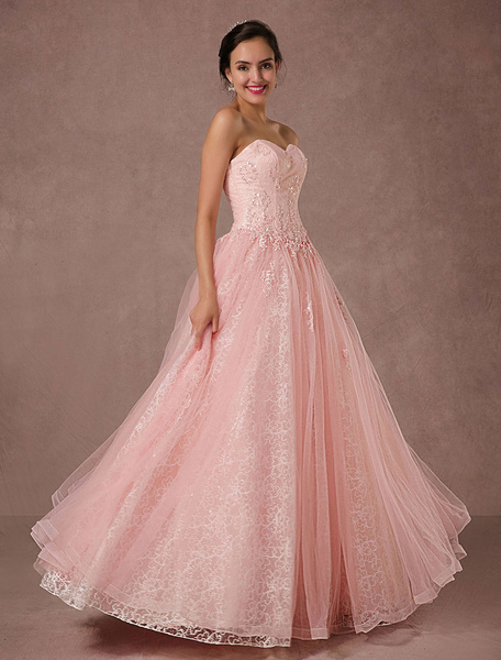 Milanoo Pink Lace Wedding Dress Tulle Strapless Bridal Gown Floor-length A-line Beading Prom Dress Backless Luxury Pageant Dress