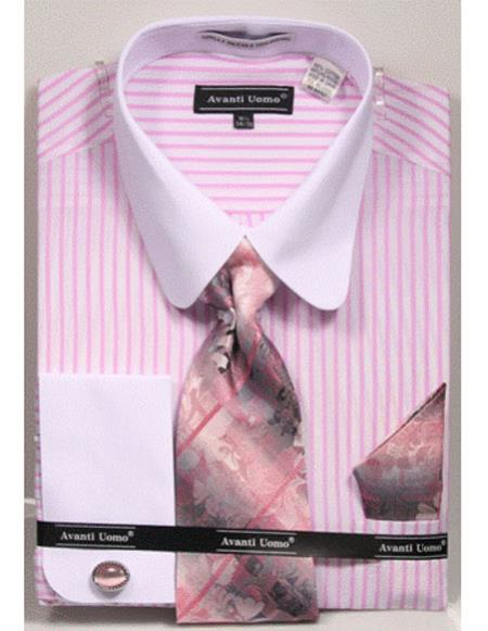 Mens white Tab Collared French Cuffed Pink ShirtTie/Hanky/Cufflink Set