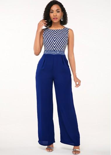 Blue Diagonal Stripe Sleeveless Open Back Jumpsuit - S
