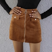 O-ring Zip Front Cord Skirt