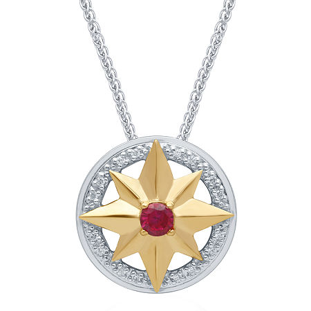 Marvel Universe Fine Jewelry By Marvel Womens Diamond Accent Genuine Red Topaz 14K Two Tone Gold Over Silver Marvel Pendant Necklace, One Size , No Co