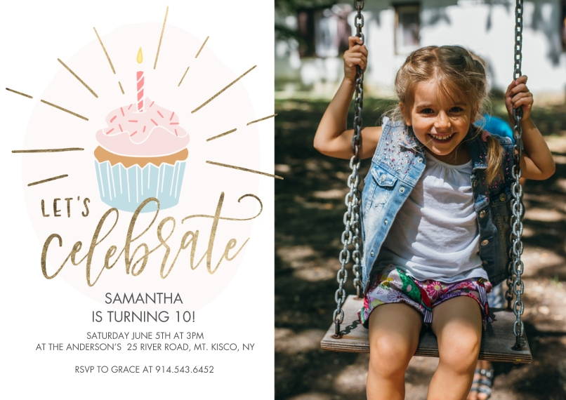 Kids Birthday Party 5x7 Cards, Premium Cardstock 120lb with Rounded Corners, Card & Stationery -Birthday Party Gold Celebrate Cupcake by Tumbalina