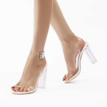 Clear Ankle Strap Chunky Heeled Sandals