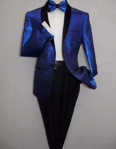 Men's Single Breasted 1 Button Royal Blue Side Vents Blazer