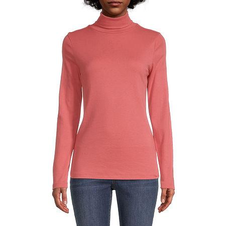 St. John's Bay-Womens Turtleneck Long Sleeve T-Shirt, Petite Medium , Orange