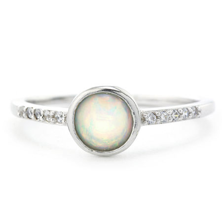 Silver Treasures Sterling Silver Bezel and Cubic Zirconia Ring, 7 , No Color Family