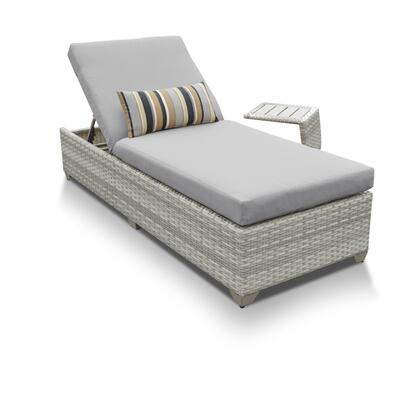 FAIRMONT-1x-ST-GREY Fairmont Chaise Outdoor Wicker Patio Furniture With Side Table with 2 Covers: Beige and