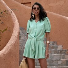 Knot Hem Puff Sleeve Blouse & Belted Shorts