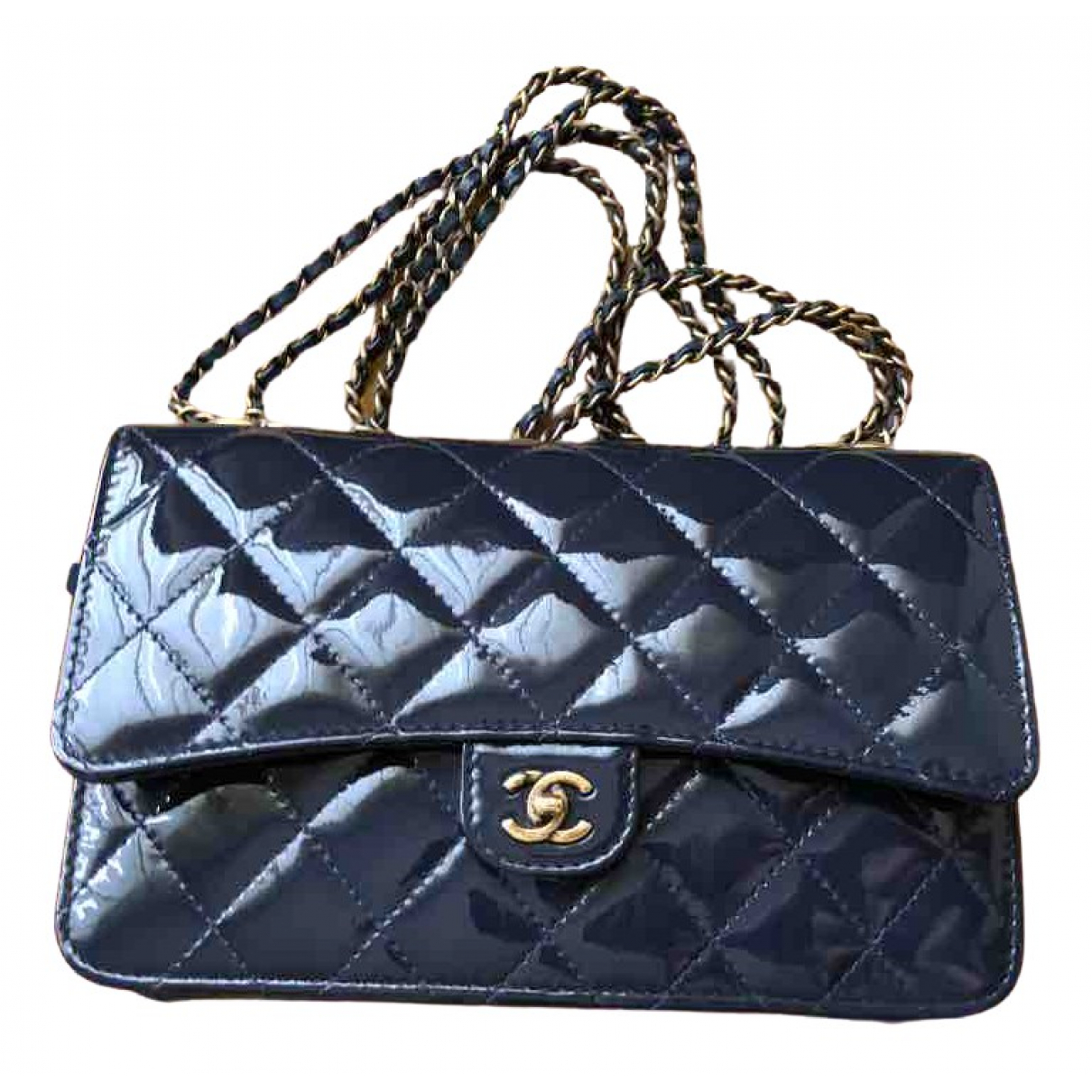 Chanel Wallet on Chain Clutch in  Marine Lackleder