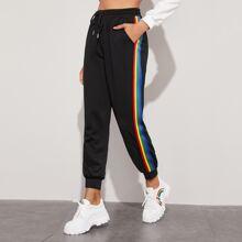 Pantalones deportivos de cintura con cordon de lado de rayas de arcoiris