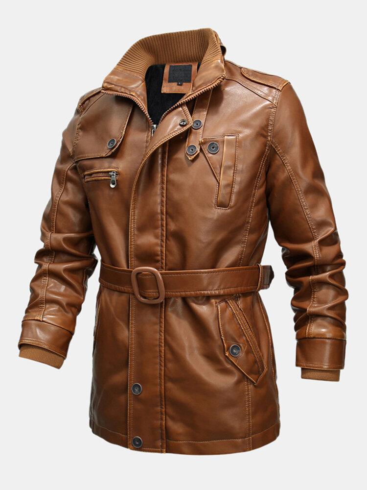 Men Winter Fashion Thicken Fleece Lined Mid-long Plain PU Leather Jacket