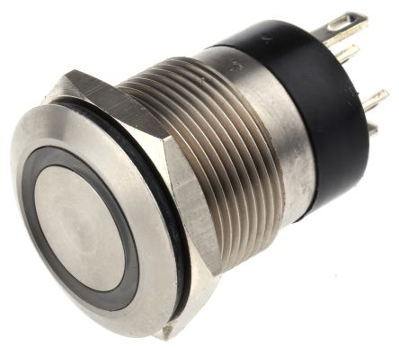 Bulgin Single Pole Single Throw (SPST) Momentary Blue LED Push Button Switch, IP66, 19.2 (Dia.)mm, Panel Mount, 24V dc