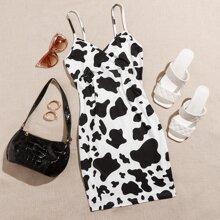 Figurbetontes Kleid mit V Kragen und Kuh Muster