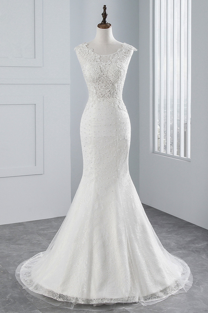 BMbridal Glamorous Jewel Sleeveless Rhinestone White Mermaid Wedding Dresses with Appliques